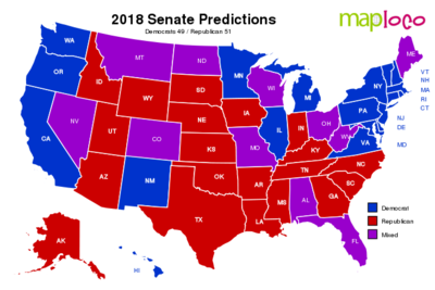 Prediction Map for 2018 US Senate Race